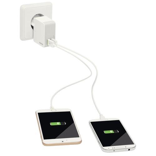 USB Reise-Netzteil Ladegerät Complete 12W 2Ausgänge 2.4A weiß Leitz 6520-00-01 Produktbild Additional View 1 L