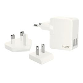 USB Reise-Netzteil Ladegerät Complete 12W 2Ausgänge 2.4A weiß Leitz 6520-00-01 Produktbild