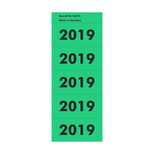 Jahreszahlenaufkleber 2019 grün selbstklebend 06219 (PACK=100 STÜCK) Produktbild Front View L