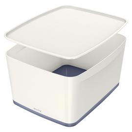 Aufbewahrungsbox MyBox mit Deckel für A4 318x198x385mm 18Liter weiß/grau Kunststoff Leitz 5216-10-01 Produktbild