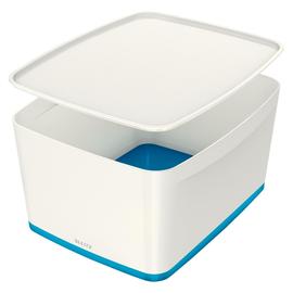 Aufbewahrungsbox MyBox mit Deckel für A4 318x198x385mm 18Liter weiß/blau Kunststoff Leitz 5216-10-36 Produktbild