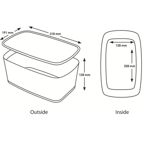 Aufbewahrungsbox MyBox mit Deckel für A5 318x128x191mm 5Liter weiß/grau Kunststoff Leitz 5229-10-01 Produktbild Additional View 9 L