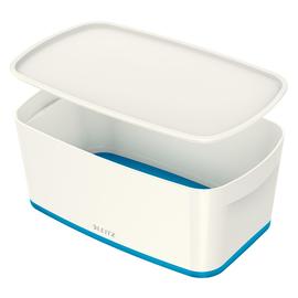 Aufbewahrungsbox MyBox mit Deckel für A5 318x128x191mm 5Liter weiß/blau Kunststoff Leitz 5229-10-36 Produktbild