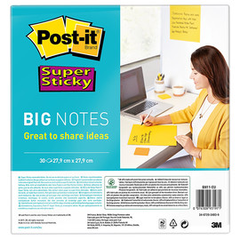 Haftnotizen Post-it Big Notes 279x279mm ultragelb 3M BN11-EU (PACK=30 STÜCK) Produktbild
