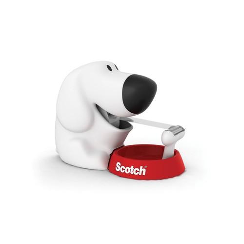 Handabroller Scotch Hundeform + 1 Rolle Magicfilm füllbar bis 19mm x 8,9m weiß 3M Dog-810 Produktbild Front View L