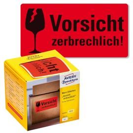 Warnetiketten VORSICHT ZERBRECHLICH! 100x50mm neon-rot Zweckform 7211 (PACK=200 STÜCK) Produktbild