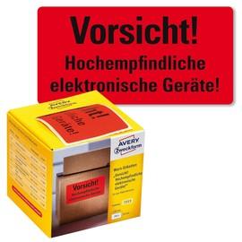 Warnetiketten VORSICHT ELEKTRONISCHE GERÄTE 100x50mm neon-rot Zweckform 7213 (PACK=200 STÜCK) Produktbild