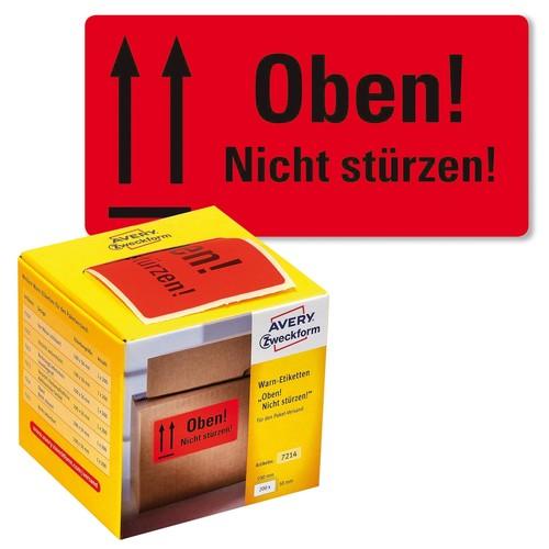 Warnetiketten OBEN NICHT STÜRZEN 100x50mm neon-rot Zweckform 7214 (PACK=200 STÜCK) Produktbild