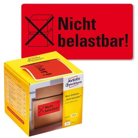 Warnetiketten NICHT BELASTBAR! 100x50mm neon-rot Zweckform 7215 (PACK=200 STÜCK) Produktbild