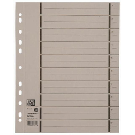 Trennblätter Oxford A4 grau 250g vollfarbig Karton 240x300mm mit perforierten Taben 400004668 (PACK=100 STÜCK) Produktbild