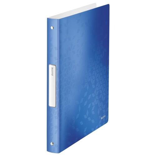 Ringbuch WOW A4 4Ringe Ringe-Ø25mm bis190Blatt blau metallic PP Leitz 4258-00-36 Produktbild Front View L