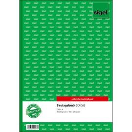 Bautagebuch A4 3x40Blatt selbstdurchschreibend Sigel SD063 Produktbild