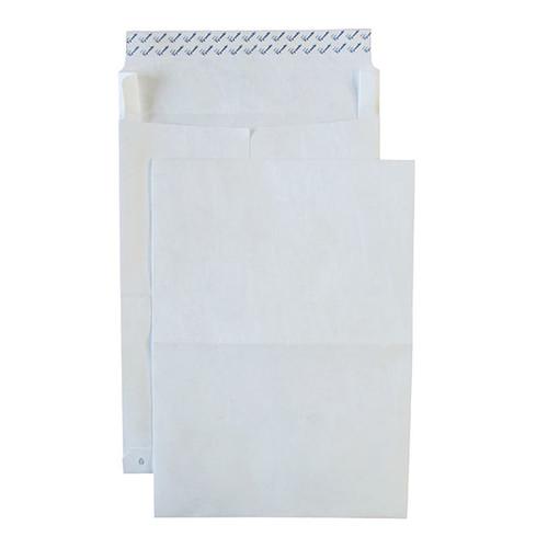 Faltentasche TYVEK ohne Fenster E4 305x406x50mm mit Haftklebung 55g weiß Spitzboden (PACK=100 STÜCK) Produktbild Additional View 1 L