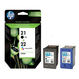 Tintenpatrone 21+22 Multipack für HP DesignJet 3940/PSC1410 je 190ml schwarz/farbig HP SD367AE (PACK=2 STÜCK) Produktbild