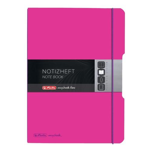 Notizheft flex A4 liniert+kariert pink 2x40 Blatt PP Herlitz 11361474 Produktbild Additional View 2 L