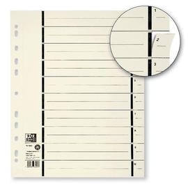 Trennblätter Oxford A4 chamois 230g vollfarbig Karton 240x300mm mit mit perforierten Taben 400004671 (PACK=100 STÜCK) Produktbild