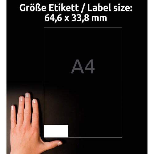Etiketten Inkjet+Laser+Kopier 64,6x33,8mm auf A4 Bögen weiß Zweckform 3658-10 (PACK=240 STÜCK) Produktbild Additional View 8 L