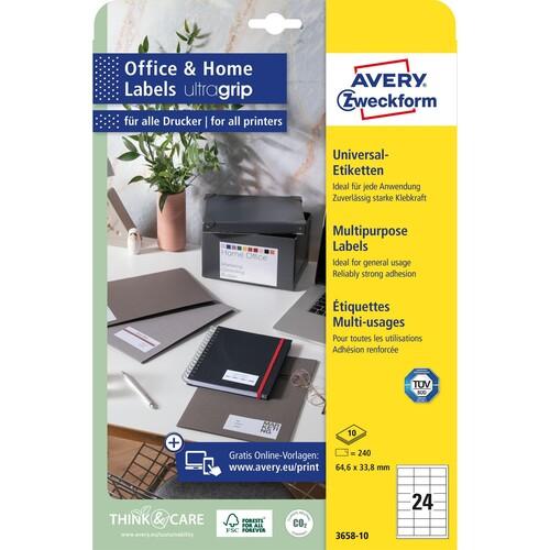 Etiketten Inkjet+Laser+Kopier 64,6x33,8mm auf A4 Bögen weiß Zweckform 3658-10 (PACK=240 STÜCK) Produktbild Additional View 1 L