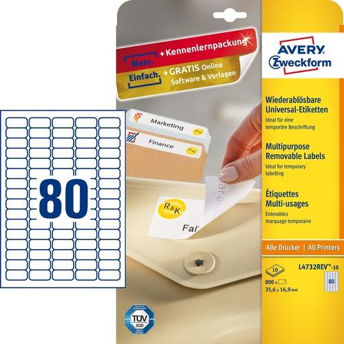 Etiketten Inkjet+Laser+Kopier 35,6x16,9mm auf A4 Bögen weiß wiederablösbar Zweckform L4732REV-10 (PACK=800 STÜCK) Produktbild