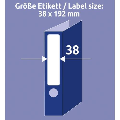 Rückenschilder zum Bedrucken 38x192mm kurz schmal auf A4 Bögen weiß wiederablösbar Zweckform L4760REV-10 (PACK=70 STÜCK) Produktbild Default L