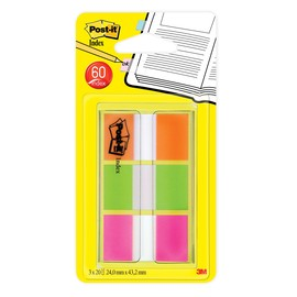 Haftstreifen Post-it Index 25,4x43,2mm orange/limonengrün/pink 3M 680-OLP (PACK=60 STÜCK) Produktbild