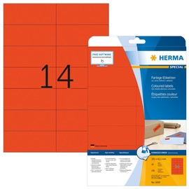 Etiketten Inkjet+Laser+Kopier 105x42,3mm auf A4 Bögen matt rot ablösbar Herma 5059 (PACK=280 STÜCK) Produktbild