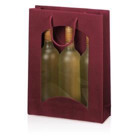 Tragetasche bordeaux für 3 Flaschen mit Fenster Famulus 660304 Produktbild