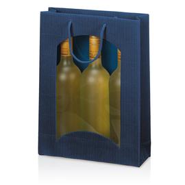 Tragetasche dunkelblau für 3 Flaschen mit Fenster Famulus 660302 Produktbild