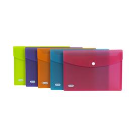 Dokumententasche A5 mit Druckknopf transluzent farbig sortiert PP Elba 400102021 Produktbild
