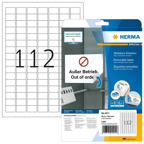 Etiketten Inkjet+Laser+Kopier 25,4x16,9mm auf A4 Bögen Movables weiß wiederablösbar Herma 4211 (PACK=2800 STÜCK) Produktbild