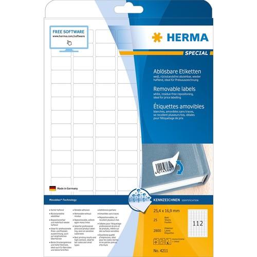Etiketten Inkjet+Laser+Kopier 25,4x16,9mm auf A4 Bögen Movables weiß wiederablösbar Herma 4211 (PACK=2800 STÜCK) Produktbild Additional View 1 L