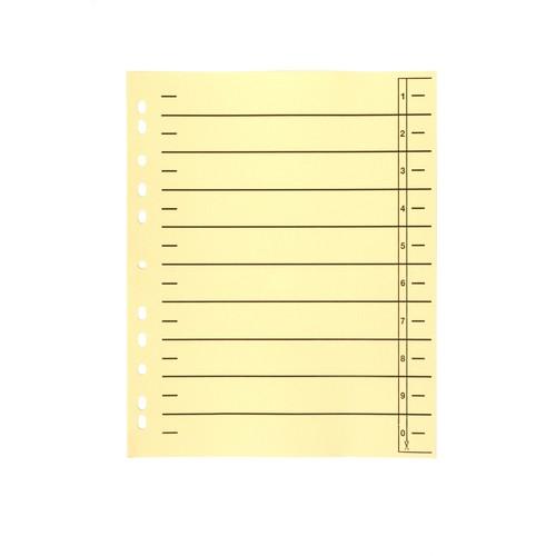 Trennblätter mit abschneidbaren Taben A4 240x300mm gelb vollfarbig Karton BestStandard (PACK=100 STÜCK) Produktbild Front View L