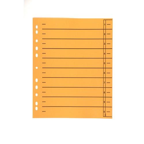 Trennblätter mit abschneidbaren Taben A4 240x300mm orange vollfarbig Karton BestStandard (PACK=100 STÜCK) Produktbild Front View L