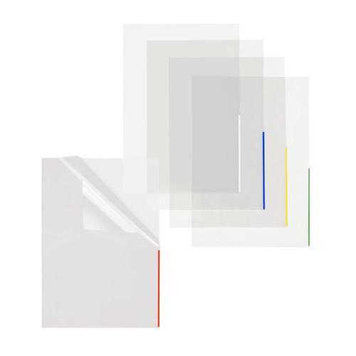 Sichthülle oben + halbseitig rechts offen A4 Überbreite 315x225mm Farbkante transparent/blau PP Folder Sys 46 279 (PACK=100 STÜCK) Produktbild