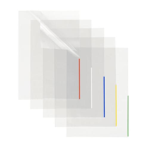 Sichthülle oben + halbseitig rechts offen A4 Überbreite 315x225mm Farbkante transparent/blau PP Folder Sys 46 279 (PACK=100 STÜCK) Produktbild Additional View 1 L