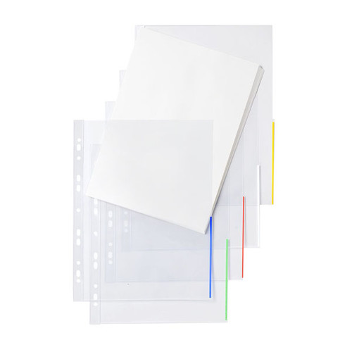 Prospekthülle oben + halbseitig rechts offen A4 überbreite 310x235/217mm transparent/blau PP Folder Sys 46 325 (PACK=100 STÜCK) Produktbild Front View L