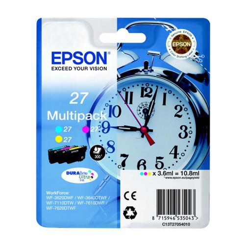 Tintenpatronen 27 Mulitpack für Epson WF3620/7110DTW/7600 3x3,6ml magenta, yellow, cyan Epson T270540 (PACK=3 STÜCK) Produktbild Front View L