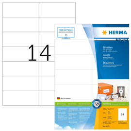Aktion Etiketten PREMIUM Inkjet+Laser+ Kopier 105x42,3mm auf A4 Bögen weiß permanent Herma 4674 (PACK=1400 STÜCK) Produktbild
