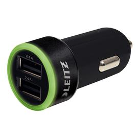 USB Kfz-Schnellladegerät Complete 12V-24V 2Ausgängen 2.4A schwarz 24W Leitz 6222-00-95 Produktbild