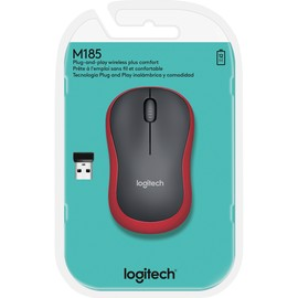 Wireless Optical Mouse M185 3 Tasten rot Logitech 910-002240 Produktbild