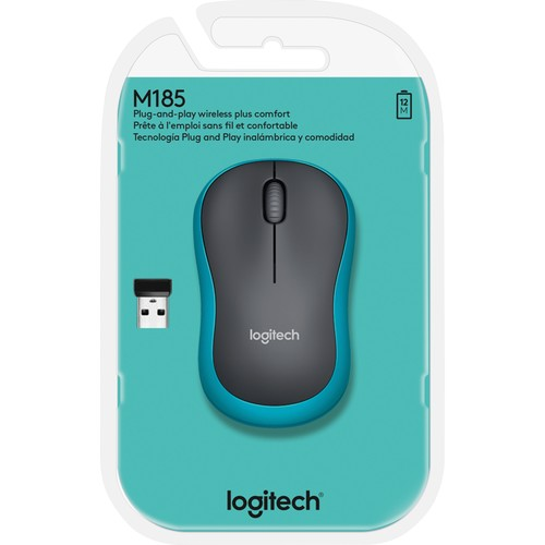 Wireless Optical Mouse M185 3 Tasten blau Logitech 910-002239 Produktbild Front View L