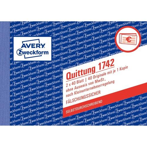 Quittung für Kleinunternehmer A6 quer 2x40Blatt Mwst nicht ausgewiesen selbstdurchschreibend Zweckform 1742 Produktbild Additional View 1 L