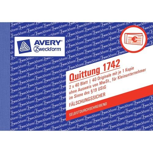 Quittung für Kleinunternehmer A6 quer 2x40Blatt Mwst nicht ausgewiesen selbstdurchschreibend Zweckform 1742 Produktbild Additional View 4 L