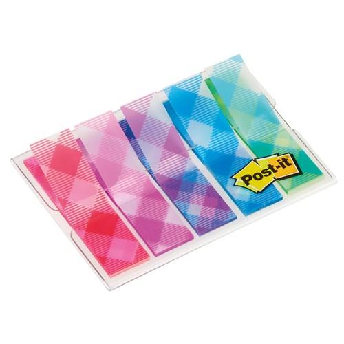 Haftstreifen Post-it Index Mini Gingham Collection durchgefärbt 11,9x43,2mm 5 Farben 3M 684-PLD5 (PACK=5x20 STÜCK) Produktbild