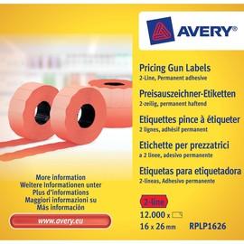 Auszeichnungsetiketten permanent 26x16mm 2-zeilig rot Zweckform RPLP 1626 (PACK=12000 ETIKETTEN) Produktbild