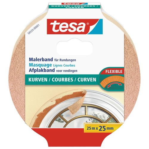 Klebeband Malerkrepp für Kurven 25mm x 25m chamois Tesa 56533-00001-00 (RLL=25 METER) Produktbild
