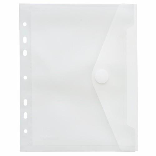 Dokumententasche A5 mit Abheftrand und Klettverschluss farblos PP FolderSys 40156-04 Produktbild Front View L