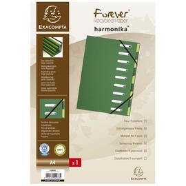 Ordnungsmappe Forever A4 mit 9 Fächern und Gummizug grün Karton Exacompta 52983E Produktbild