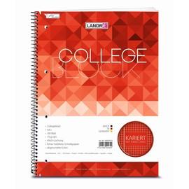 Collegeblock College A4 kariert 4-fach Lochung Rand links+rechts 160Blatt 70g holzfrei weiß Landré 100050152 Produktbild