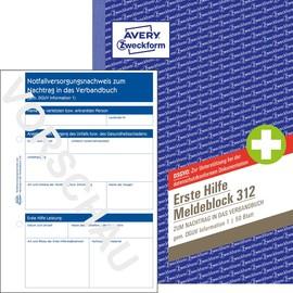 Erste Hilfe Meldeblock zum Nachtrag in das Verbandbuch A5 50Blatt Zweckform 312 Produktbild